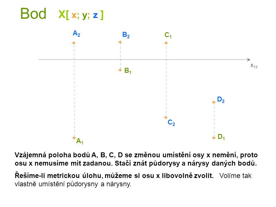 Bod X[ x; y; z ] A2 B2 C1 + + + + B1 D2 + + C2 + + D1 A1